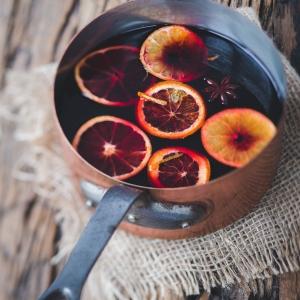Hot wine in winter days